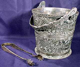 Vintage Barbour Silver Plated Ice Bucket W Tongs
